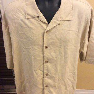 Tommy Bahama Mens Silk Hawaiian Shirt XL Beige